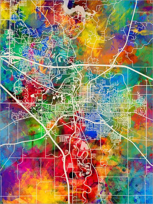 Iowa City Iowa Map Poster Art Print