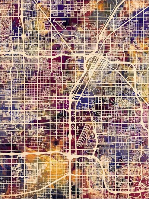 Las Vegas Nevada Map Poster Art Print