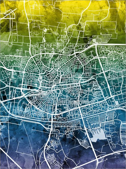 Leeuwarden Netherlands Map Poster Art Print