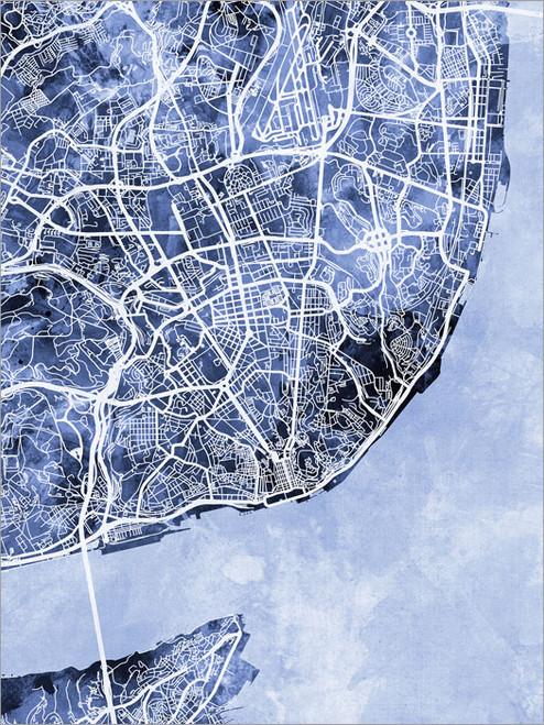 Lisbon Portugal Map Poster Art Print