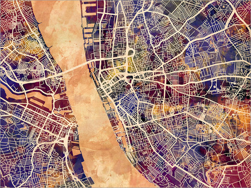 Liverpool England Map Poster Art Print