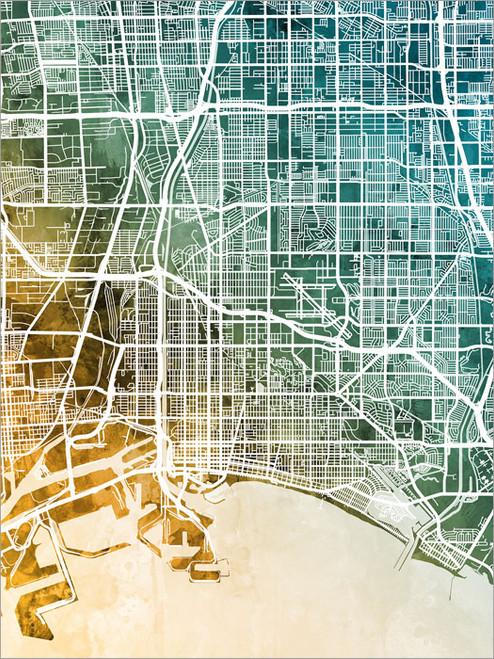 Long Beach California Map Poster Art Print
