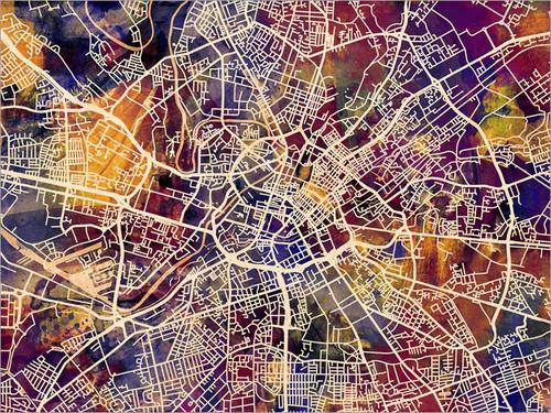 Manchester England Map Poster Art Print