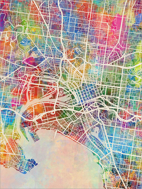 Melbourne Australia Map Poster Art Print