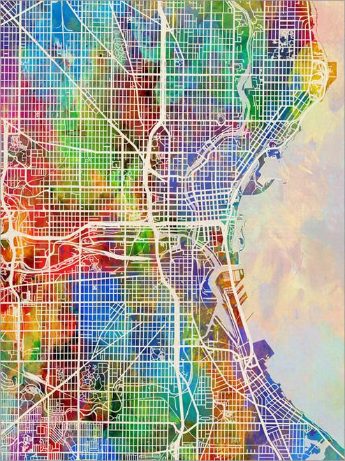 Milwaukee Wisconsin Map Poster Art Print