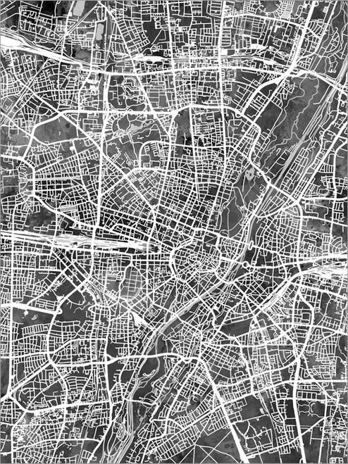 Munich Germany Map Poster Art Print