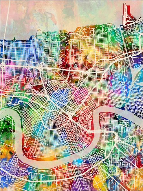 New Orelans Louisiana Map Poster Art Print