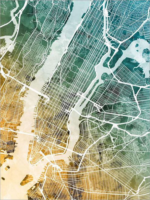 New York Map Poster Art Print