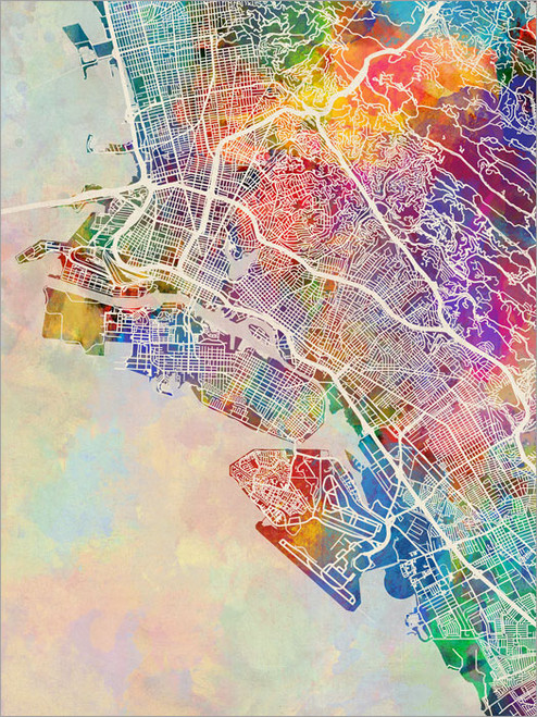 Oakland California Map Poster Art Print