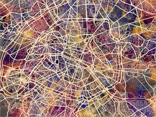 Paris France Map Poster Art Print