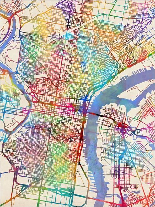 Philadelphia Pennsylvania Map Poster Art Print