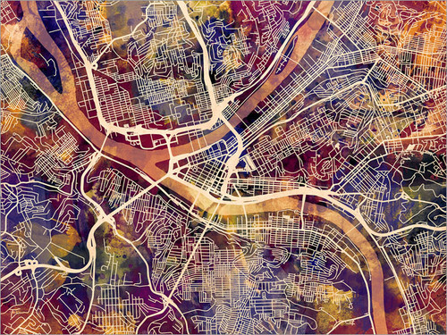 Pittsburgh Pennsylvania Map Poster Art Print