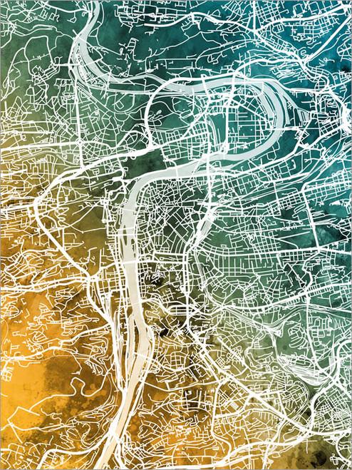 Prague Czech Republic Map Poster Art Print