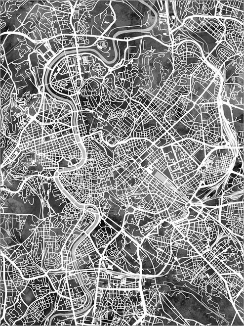 Rome Italy Map Poster Art Print