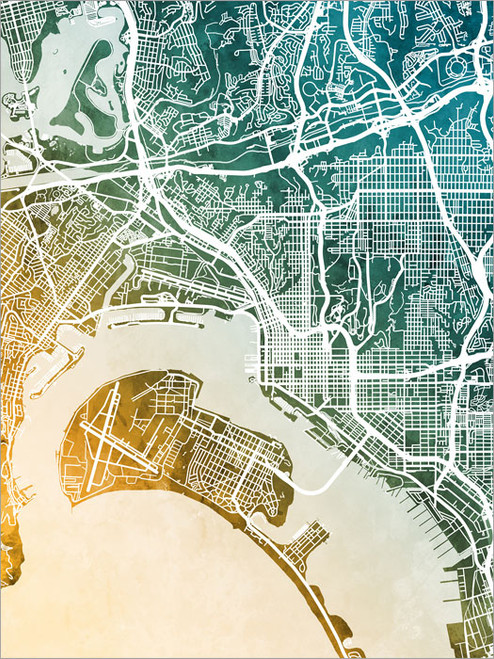 San Diego California Map Poster Art Print