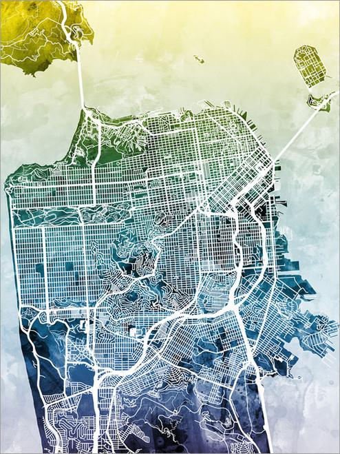 San Francisco California Map Poster Art Print