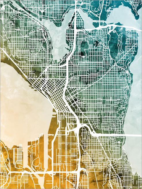 Seattle Washington Map Poster Art Print