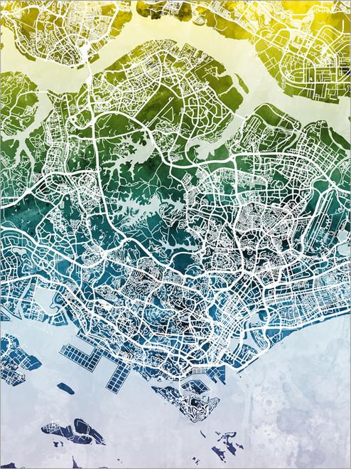 Singapore Singapore Map Poster Art Print