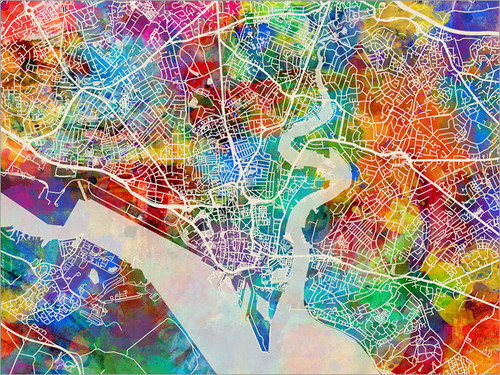 Southampton England Map Poster Art Print