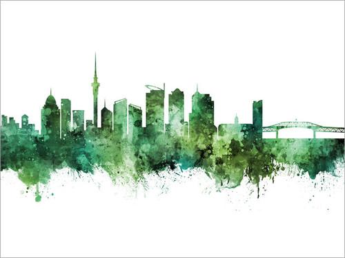 Auckland New Zealand Skyline Cityscape Poster Art Print