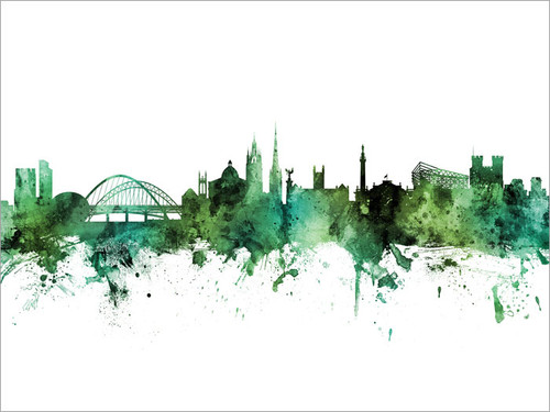 Newcastle England Skyline Cityscape Poster Art Print