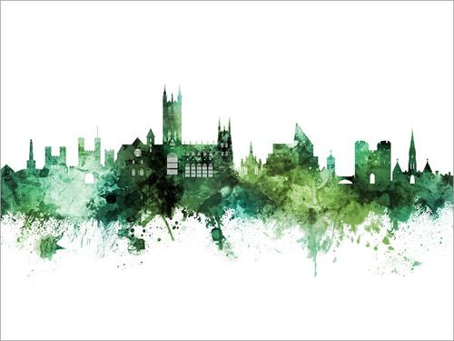 Canterbury England Skyline Cityscape Poster Art Print