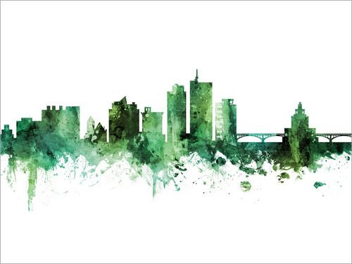 Cedar Rapids Iowa Skyline Cityscape Poster Art Print