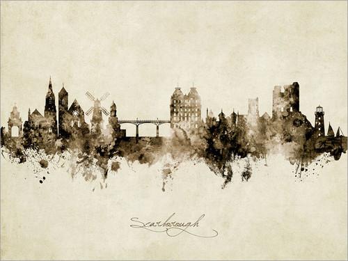 Scarborough England Skyline Cityscape Poster Art Print