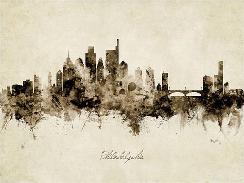 Philadelphia Pennsylvania Skyline Cityscape Poster Art Print