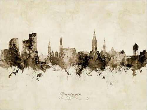Groningen Netherlands Skyline Cityscape Poster Art Print