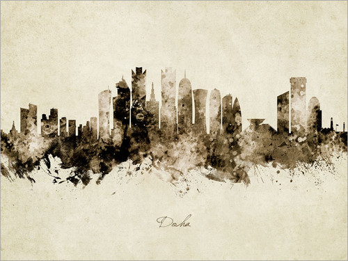Doha Qatar Skyline Cityscape Poster Art Print