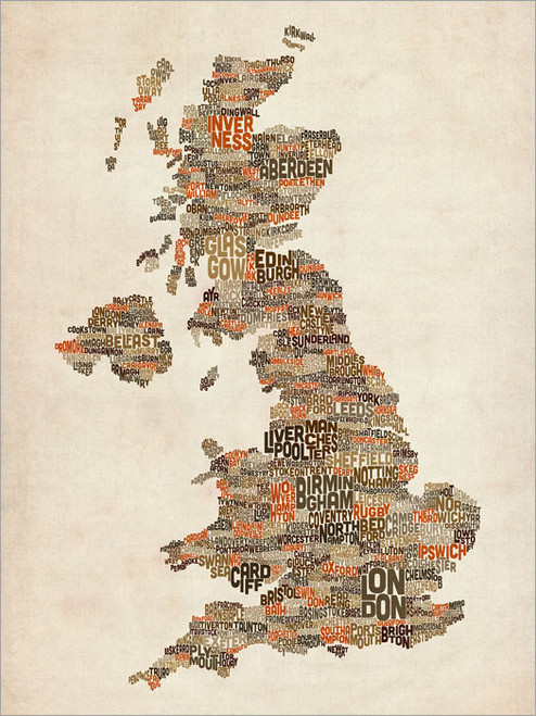Great Britain Map Poster Art Print