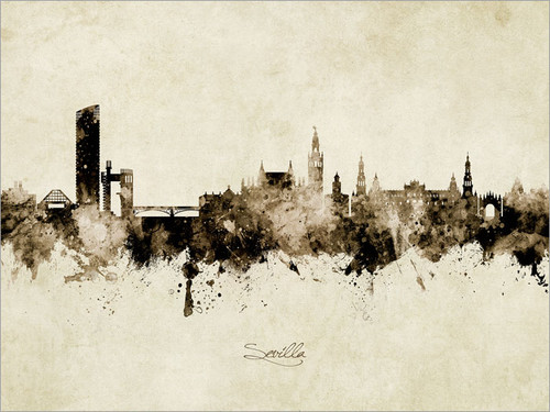 Sevilla Spain Skyline Cityscape Poster Art Print