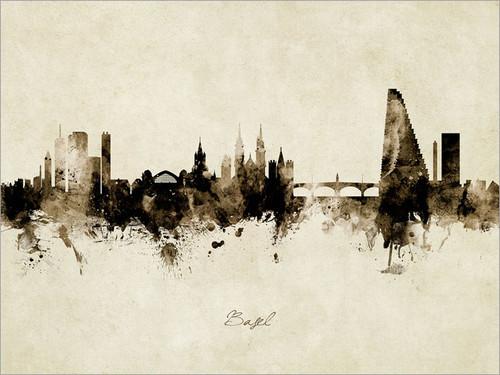 Basel Switzerland Skyline Cityscape Poster Art Print
