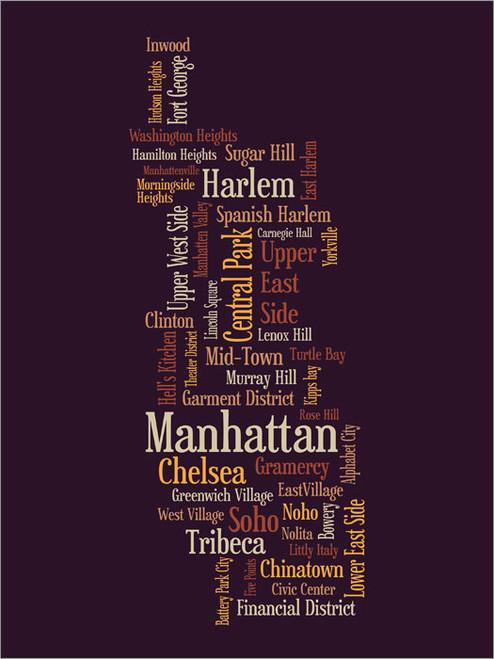 Manhattan New York Map Poster Art Print