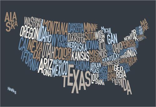 United States Map Poster Art Print