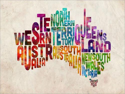 Australia Map Poster Art Print