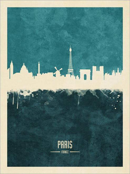 Paris France Skyline Cityscape Poster Art Print