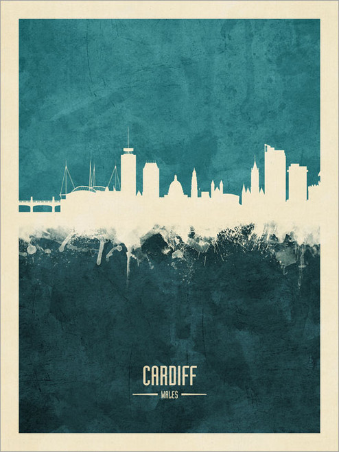 Cardiff Wales Skyline Cityscape Poster Art Print