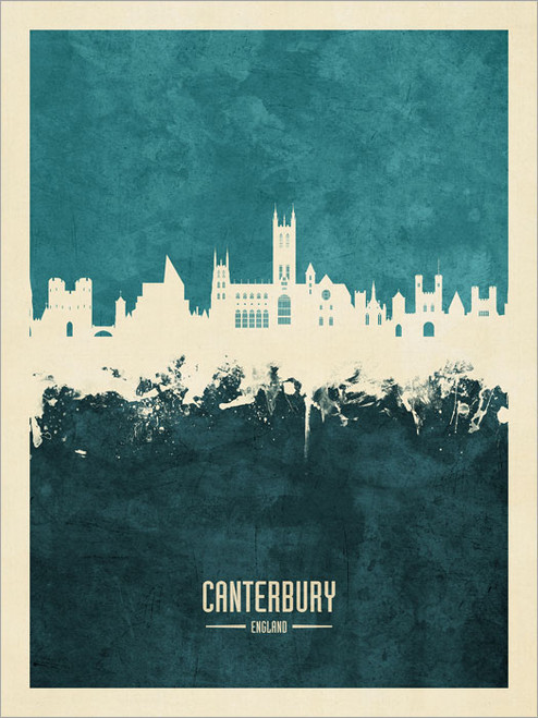 Canterbury England Skyline Cityscape Poster Art Print