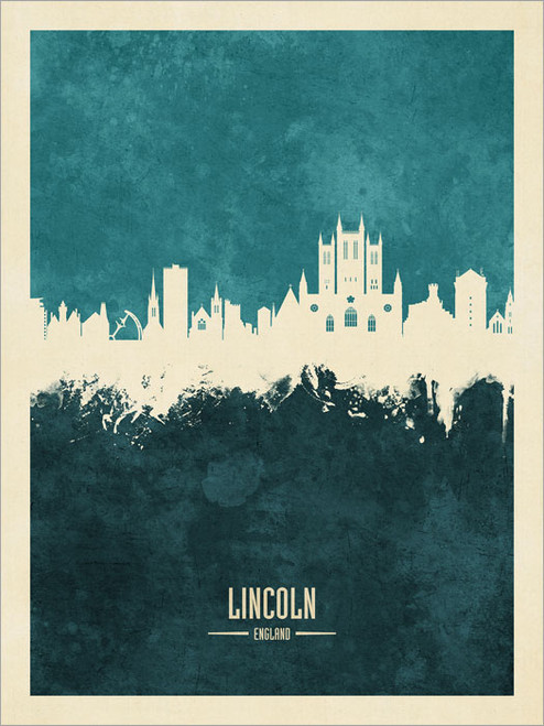 Lincoln England Skyline Cityscape Poster Art Print