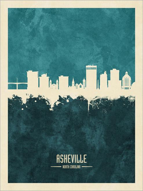 Asheville North Carolina Skyline Cityscape Poster Art Print