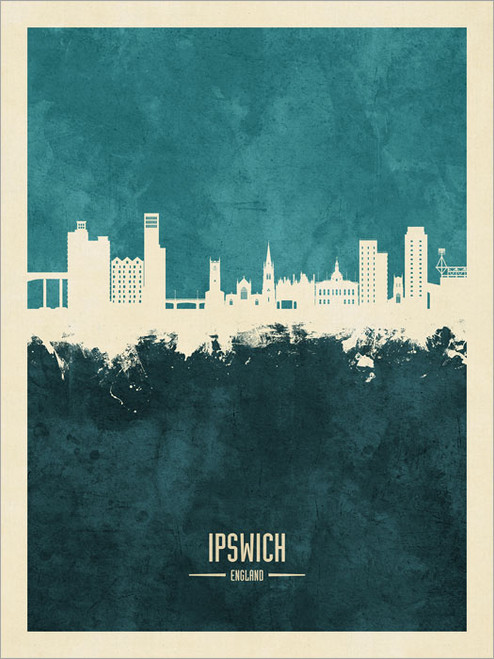 Ipswich England Skyline Cityscape Poster Art Print