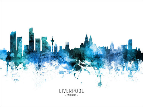 Liverpool England Skyline Cityscape Poster Art Print