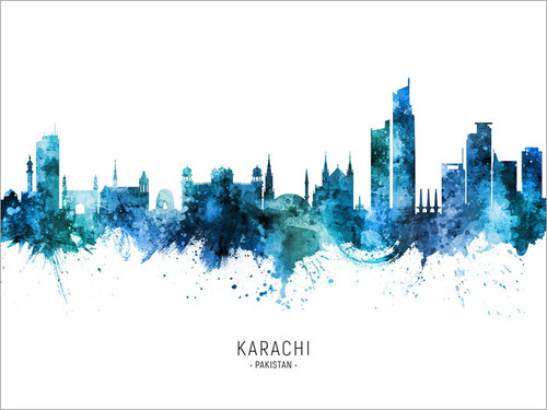 Karachi Pakistan Skyline Cityscape Poster Art Print