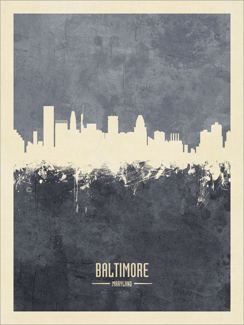 Baltimore Maryland Skyline Cityscape Poster Art Print