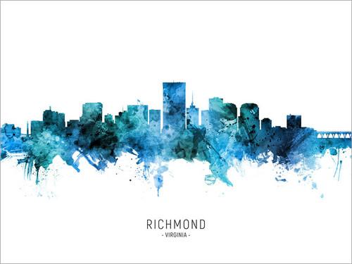 Richmond Virginia Skyline Cityscape Poster Art Print