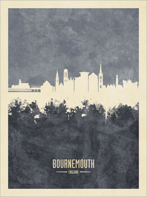 Bournemouth England Skyline Cityscape Poster Art Print