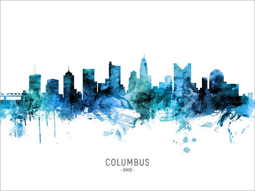 Columbus Ohio Skyline Cityscape Poster Art Print