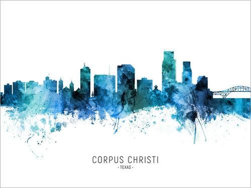 Corpus Christi Texas Skyline Cityscape Poster Art Print